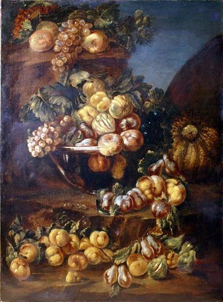 Natura morta con cornice dorata antica ,scuola Italiana del XVIII secolo cent. 90x60