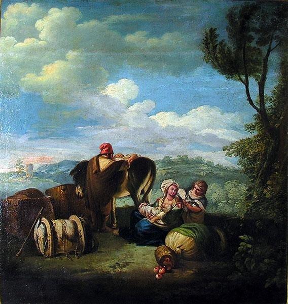 Paesaggio con figure ,att: Monaldi in cornice dorata antica  cent.6562
