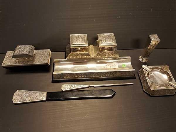 set da scrivania in argento