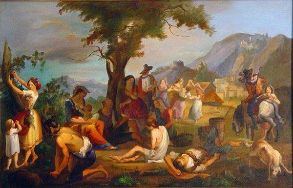 Costumi  Romani Bozzetto di mano Italiana dell'800/, cornice dorata cent.47x75