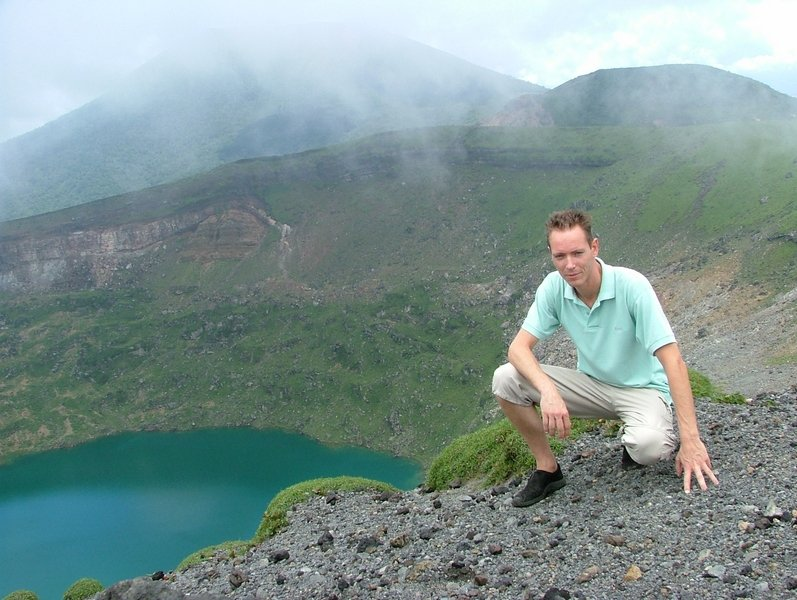 Martijn Mulder on top of Shinmoe-dake, before it erupted in 2008, 2009 and 2011