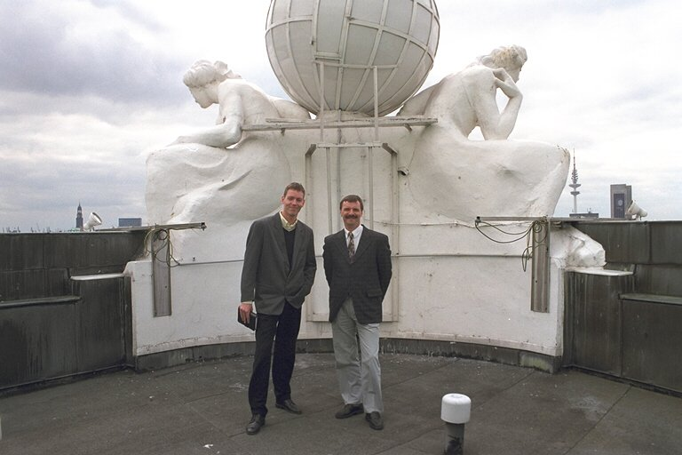 Authors Martijn Mulder (L) and Dirk Kloosterboer on top of the Atlantic Kempinsky