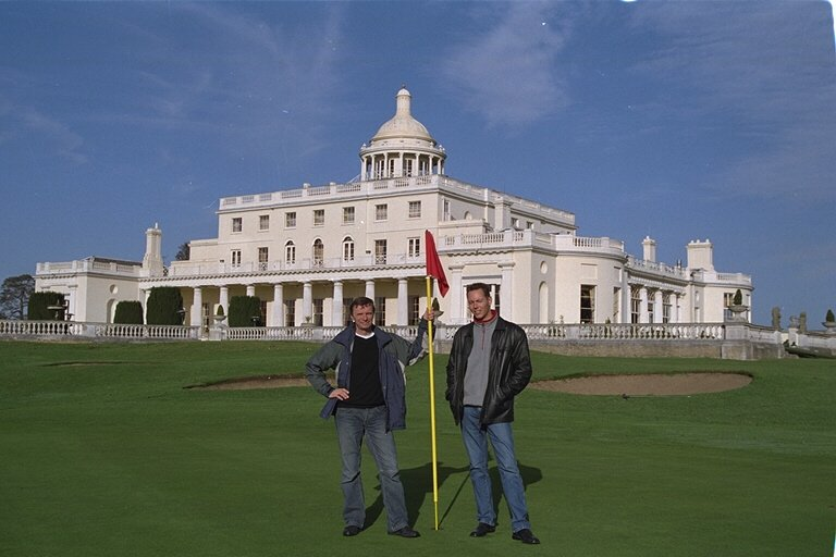 Authors Dirk Kloosterboer (L) and Martijn Mulder at Stoke Park's famous 18th hole