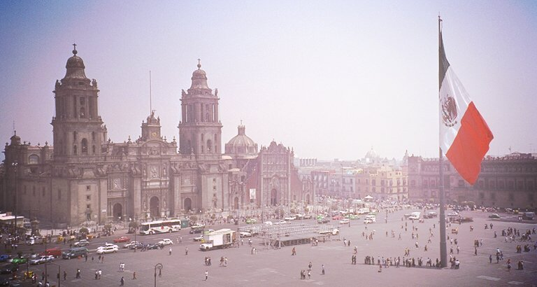 Mexico City's zocalo, or main square, where much of SPECTRE's pre-title action took place
