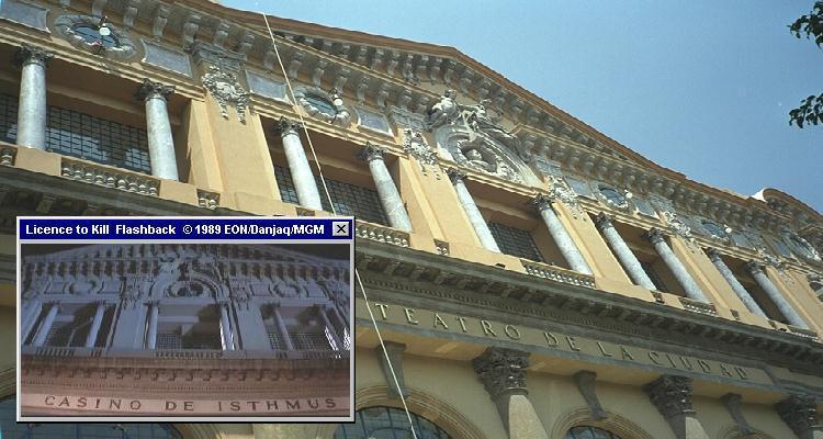Mexico City's Teatro de Cuidad, Sanchez casino HQ exterior in Licence To Kill (1989)