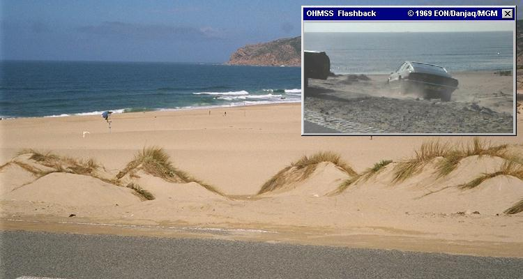 Guincho Beach, where Tracy attemped to drown herself in the opening of OHMSS (1969)