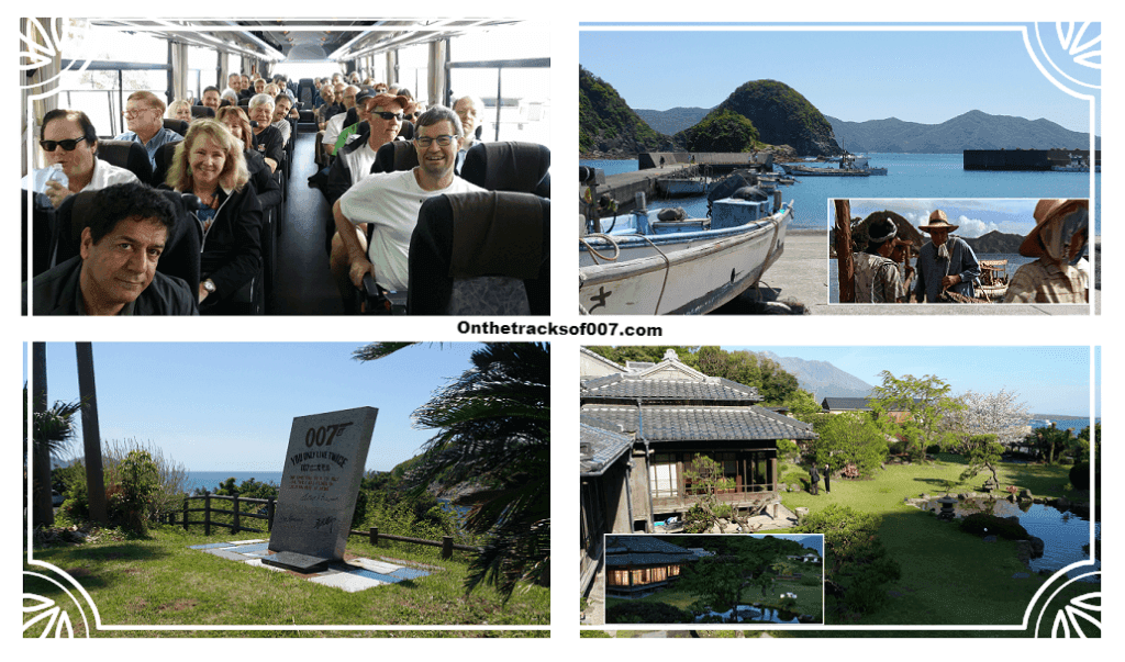 Clockwise from top left: Group in the bus, Akime village, Shigetomi-so (or Tanaka's house) and the memorial at Akime (Photos © Onthetracksof007.com)