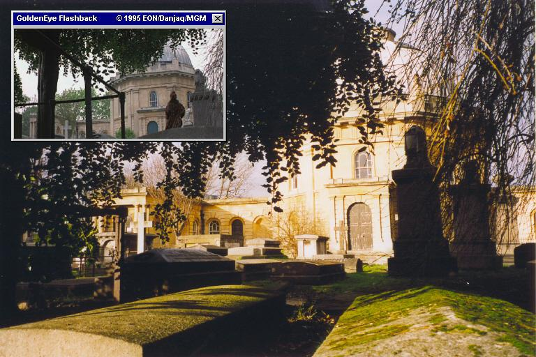 The chapel of West Brompton Cemetery, as can be seen in GoldenEye (1995)
