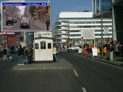 Checkpoint Charlie, the famous border crossing in Berlin featured in Octopussy (1983)