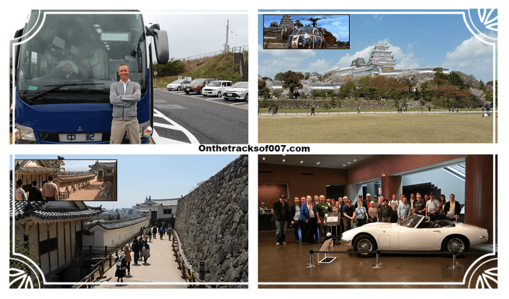 Clockwise from top left: Me and my bus, Himeji Castle, the group with the Toyota 2000GT and one of the many familiar sites at Himeji Castle