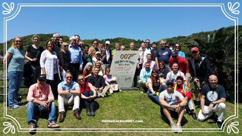 40 lucky Bond fans, at the 007 YOLT Memorial in Akime (photo: Onthetracksof007.com)