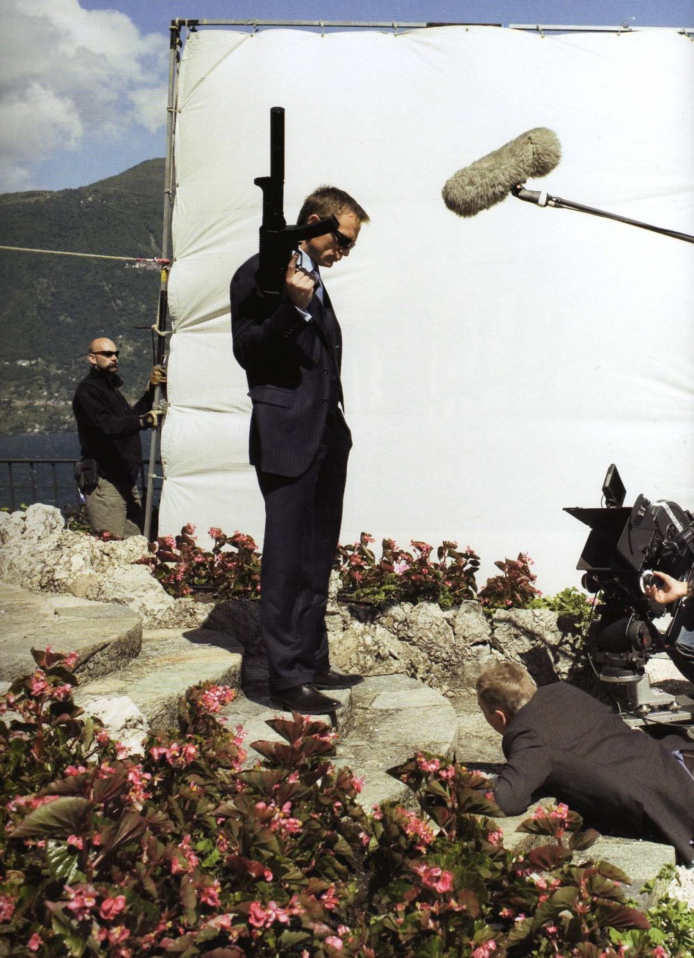 Daniel Craig and Jesper Christiansen filming scenes at Villa La Gaeta for Casino Royale