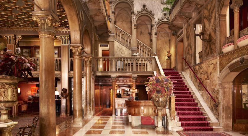 The beautiful marble lobby of the Hotel Danieli shows unmistakable signs of its rich past