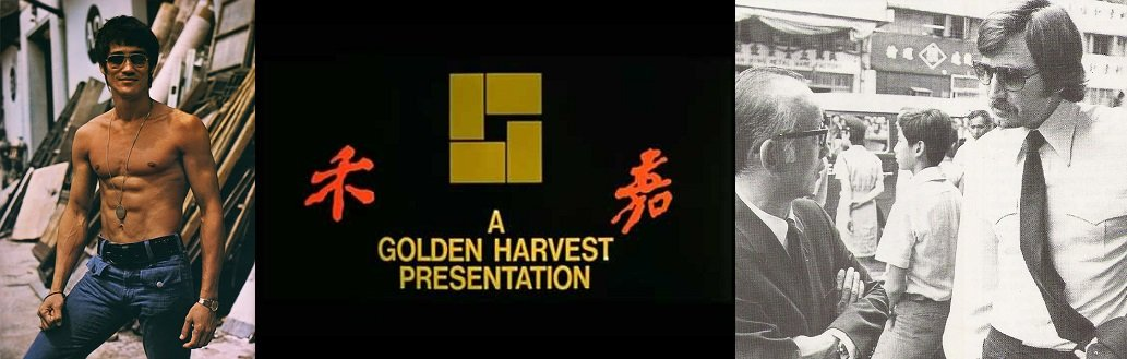 Bruce Lee at Golden Harvest Studios (L) and Lazenby talking to Raymond Chow (R)