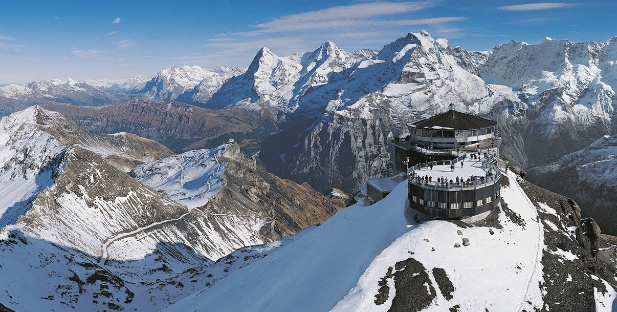 Piz Gloria on top of Mount Schilthorn, Blofeld's hideout in On Her Majesty's Secret Service (1969)