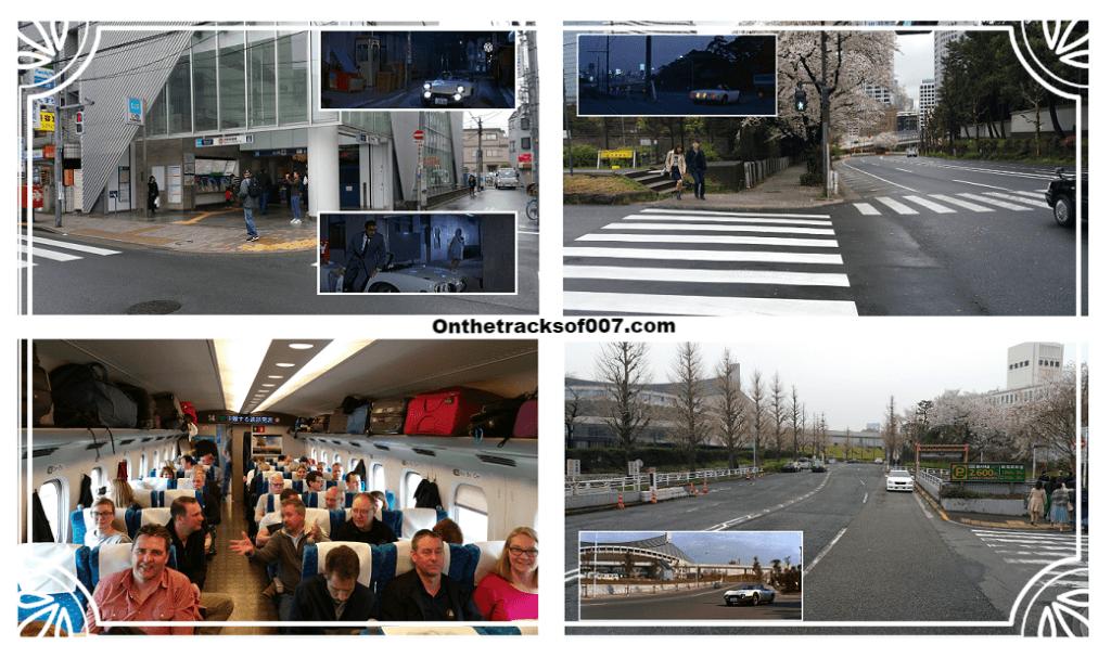 Clockwise from top left: Nakano-Shimbashi metro station, The New Otani parking exit, Yoyogi Gymnasium and the group in the train.