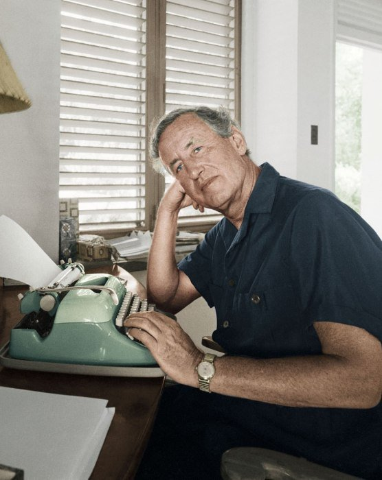 Ian Fleming behind the desk at Goldeneye, where he wrote all of his James Bond novels