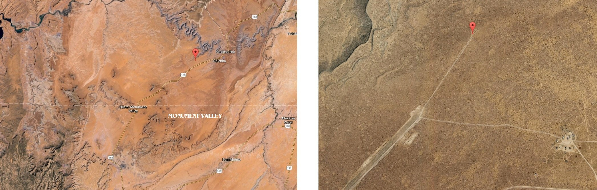 The position of the location, along highway 163 between Monument Valley and Mexican Hat