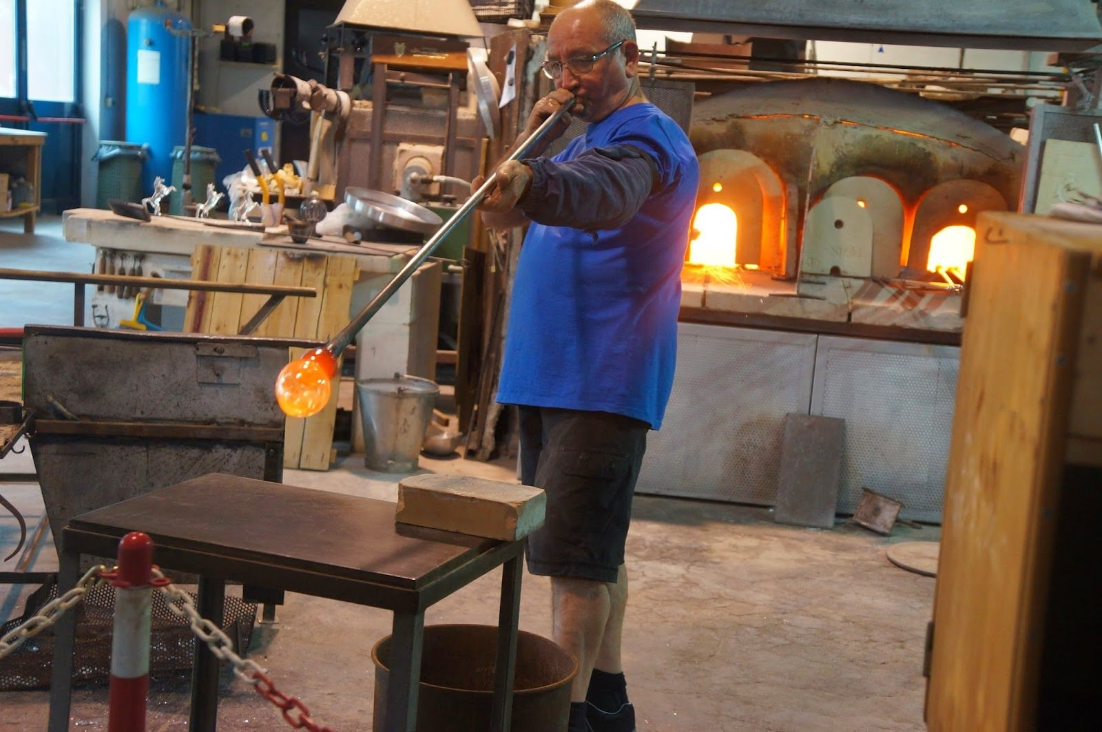 Glass blowing in one of the many glass blowing factories on Murano