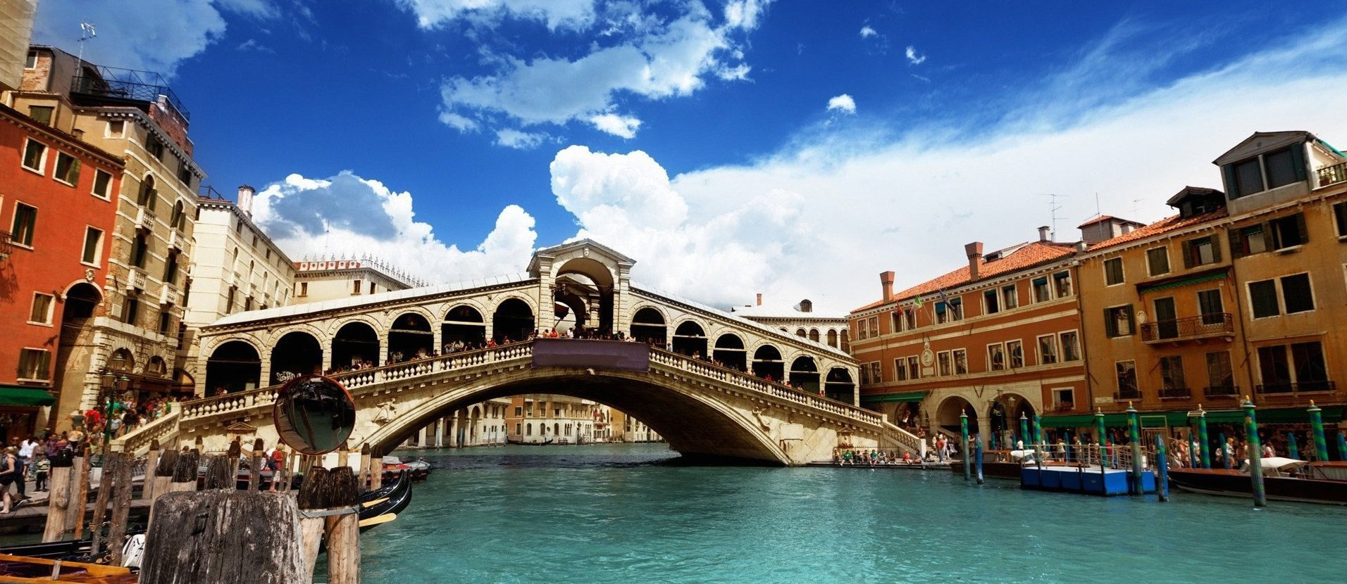 The Rialto Bridge, one of the city's most famous landmarks