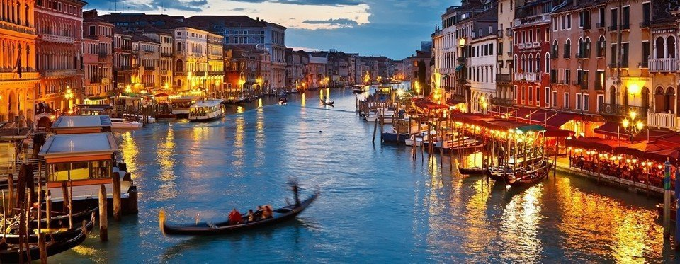 In the evening ,the Canal Grande is a magical place