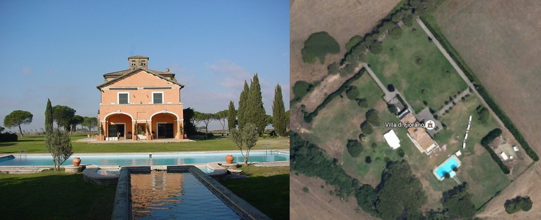 Villa di Fiorano as seen form the south, and from the sky