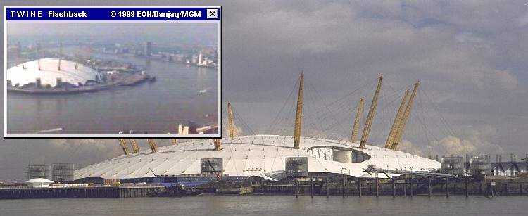 What is now the O2 Arena, used to be known as the Millennium Dome and featured in The World Is Not Enough (1999)
