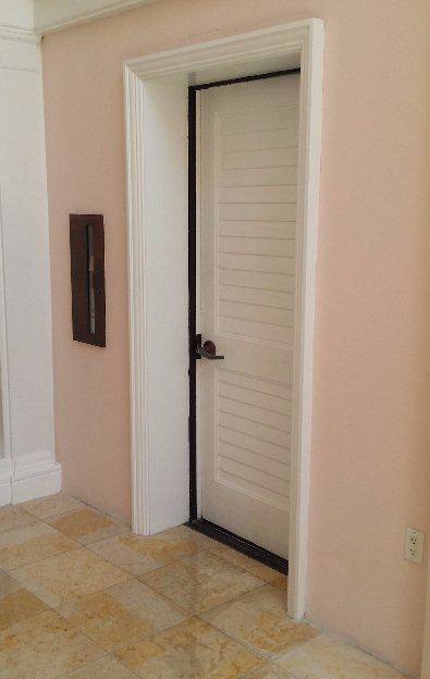 The door to the security office, inside the Ocean Club.