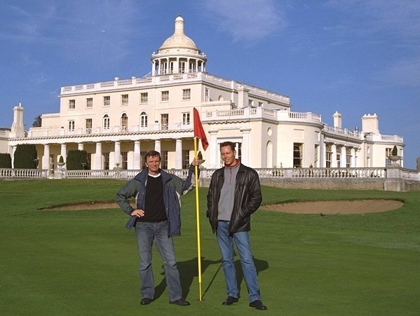 Dirk Kloosterboer (L) with Martijn Mulder at Stoke Park's 18th hole