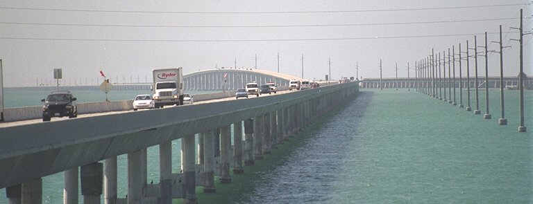 The Seven Mile Bridge in the Florida Keys can be seen in Licence To Kill (1989)