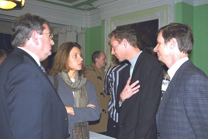 Martijn Mulder and Dirk Kloosterboer talking to Barbara Broccoli at Pinewood Studios