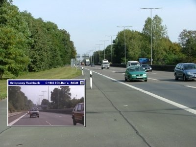 The AVUS, originally part of a race track, is the high way used in this scene from Octopussy (1983)