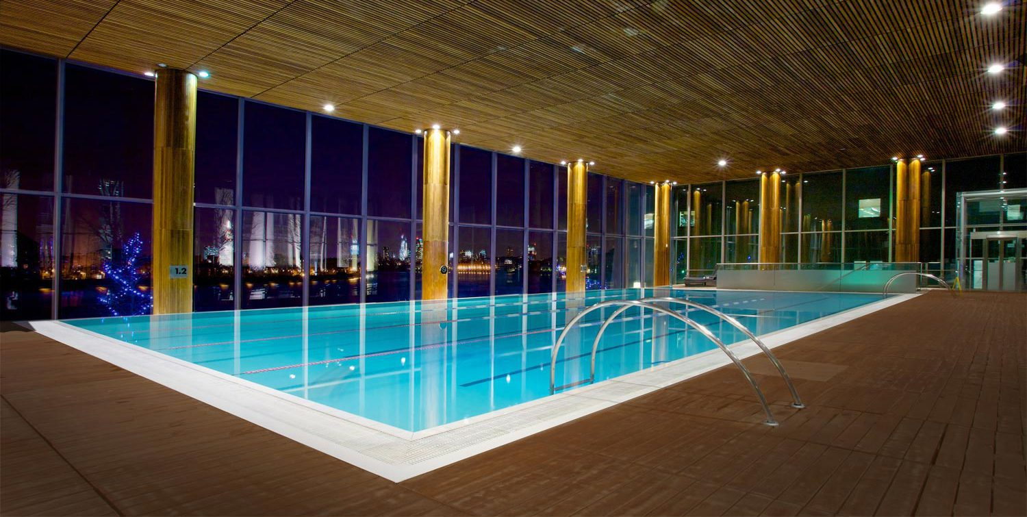 The Four Seasons Canary Wharf pool, as can be seen in Skyfall (2012)