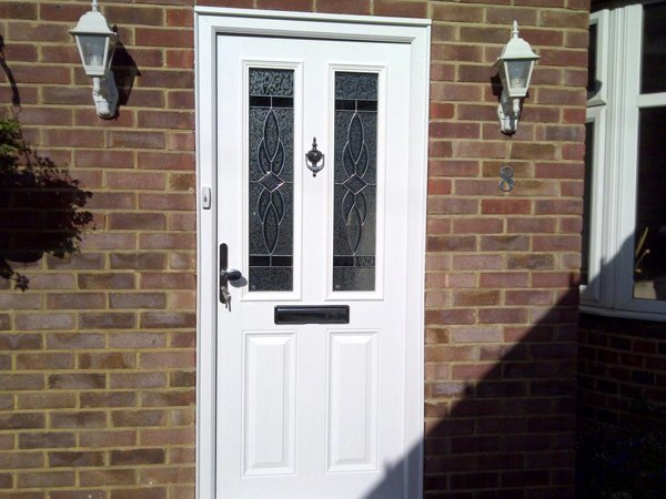 Cream composite door with stained glass