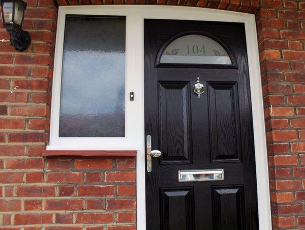 Black composite door with window