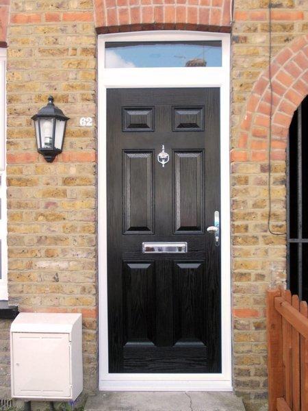 Front view of black composite door