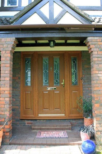 Front view of a tan composite door