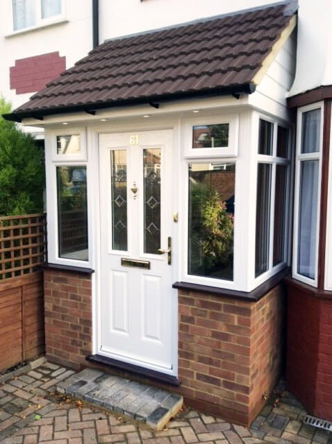 PVC porch with white door