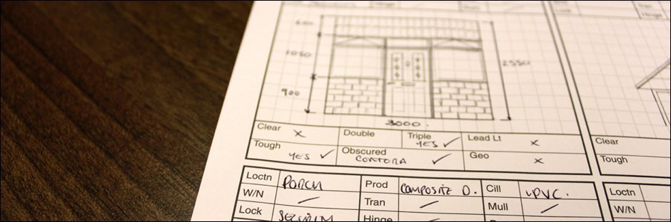 Close-up of porch measurements and specifications