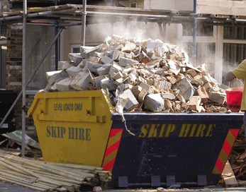 skip full of debris
