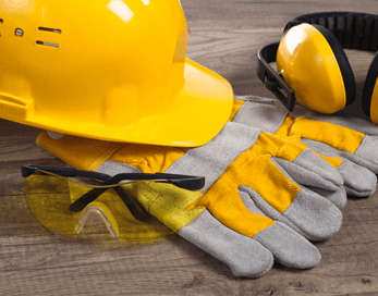 professional hardhat and gloves