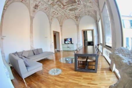 Ampio salotto con parquet e affreschi