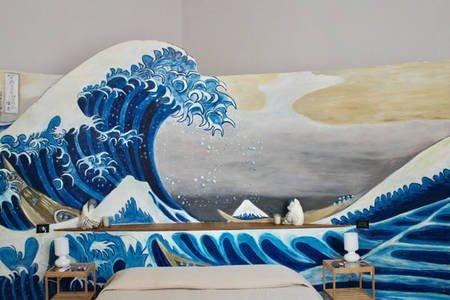 Camera da letto con decorazioni a tema marino