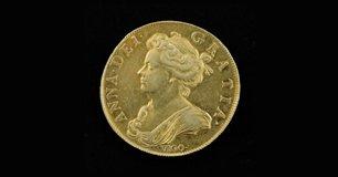 Queen Anne Vigo five-guinea gold piece