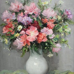 'Godetias', oil on canvas