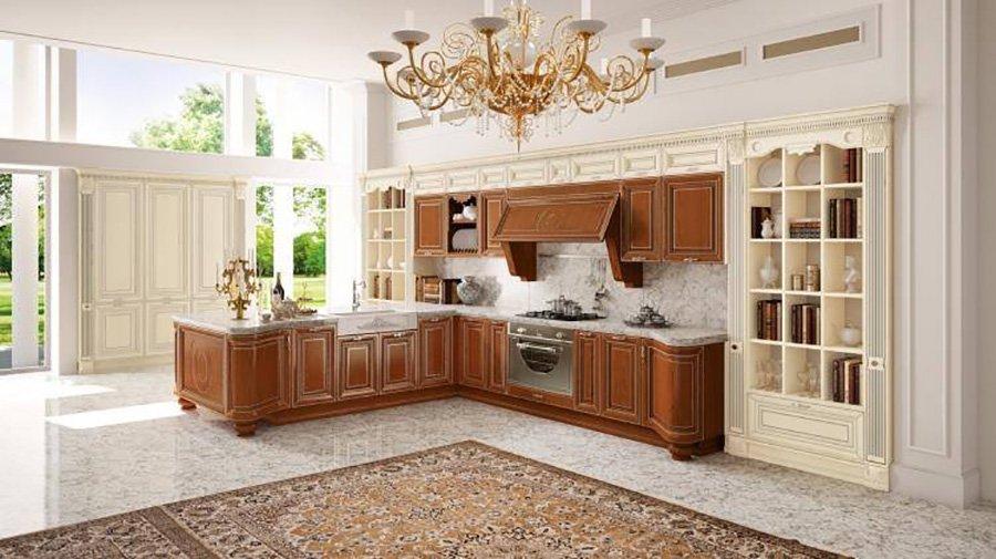 cucina con mobili in legno marrone e tappeto grande