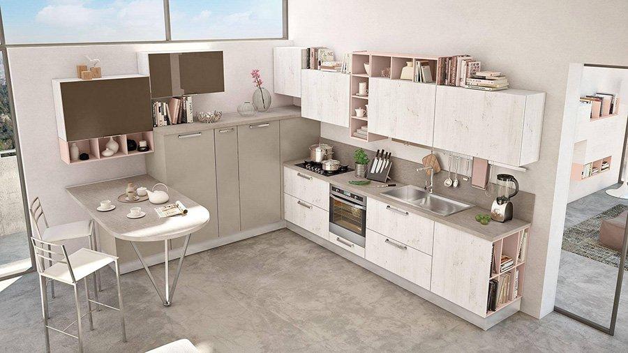cucina con cucina in stile moderno e mobili bianchi