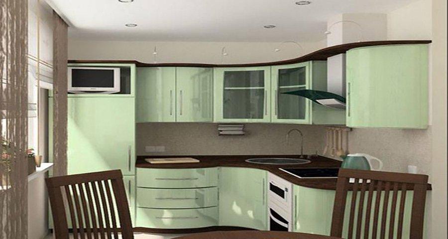 cucina con mobili verde chiaro