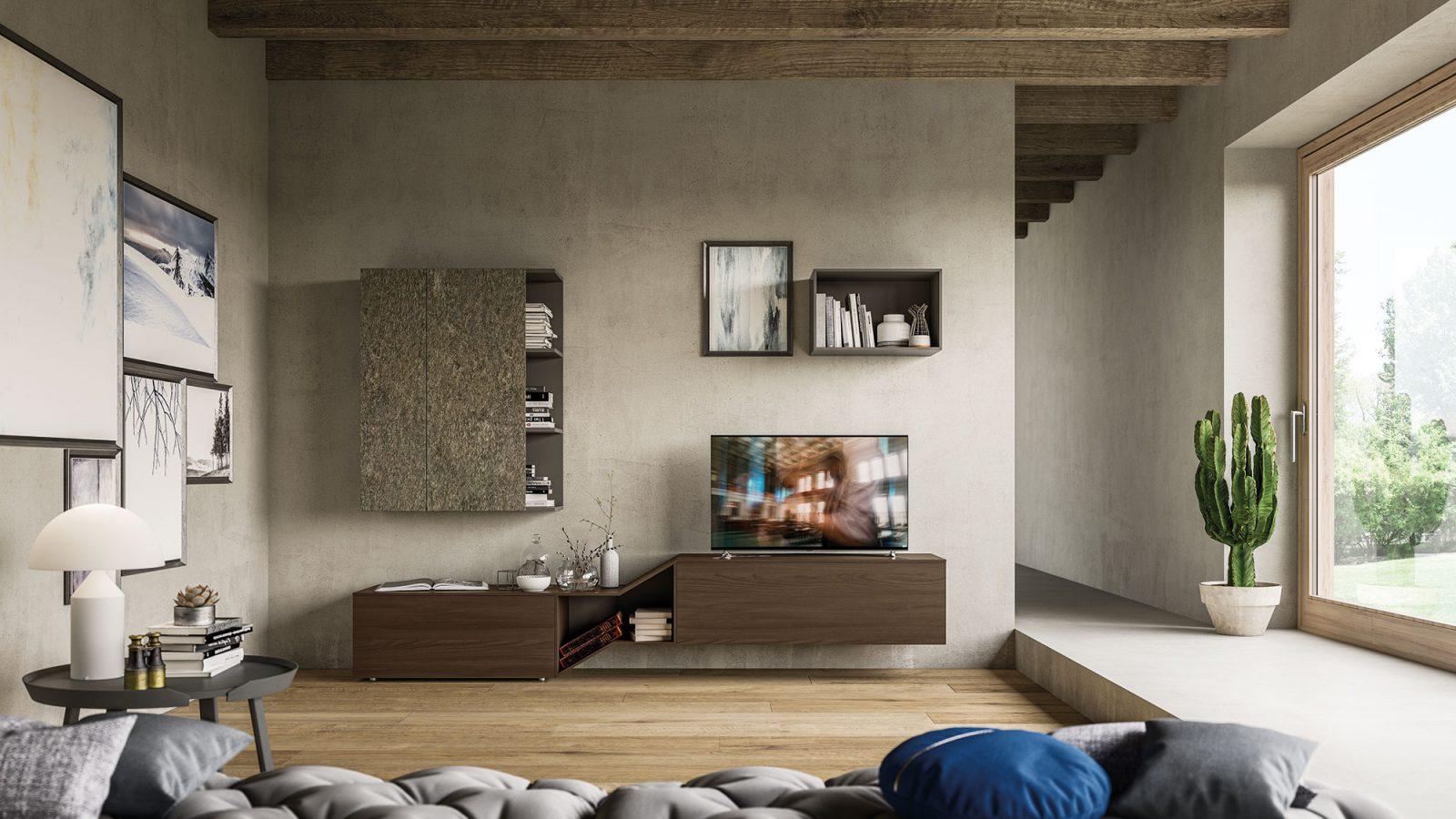 Soggiorno con quadri e scaffali in legno