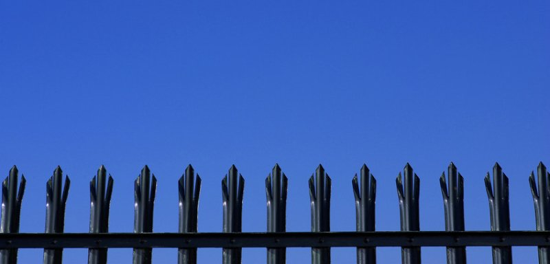 An iron security fence